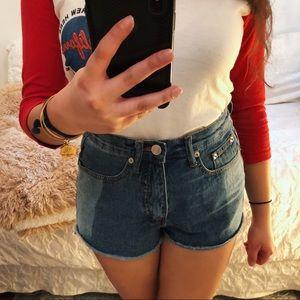Lulus Two Tone Distressed Denim Shorts